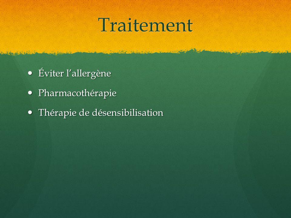 Traitement Éviter l'allergène Pharmacothérapie