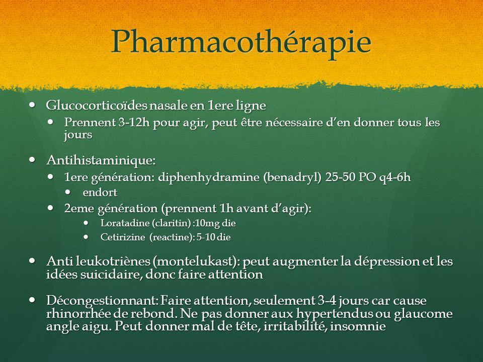 Pharmacothérapie Glucocorticoïdes nasale en 1ere ligne