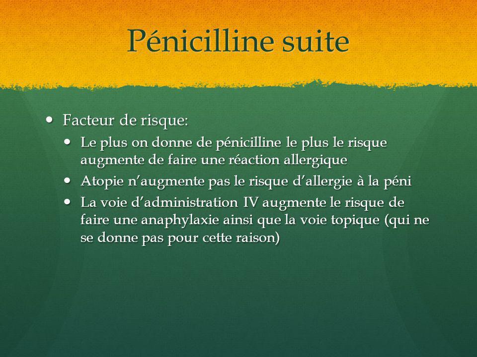 Pénicilline suite Facteur de risque: