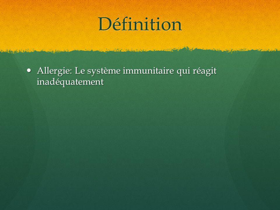Définition Allergie: Le système immunitaire qui réagit inadéquatement