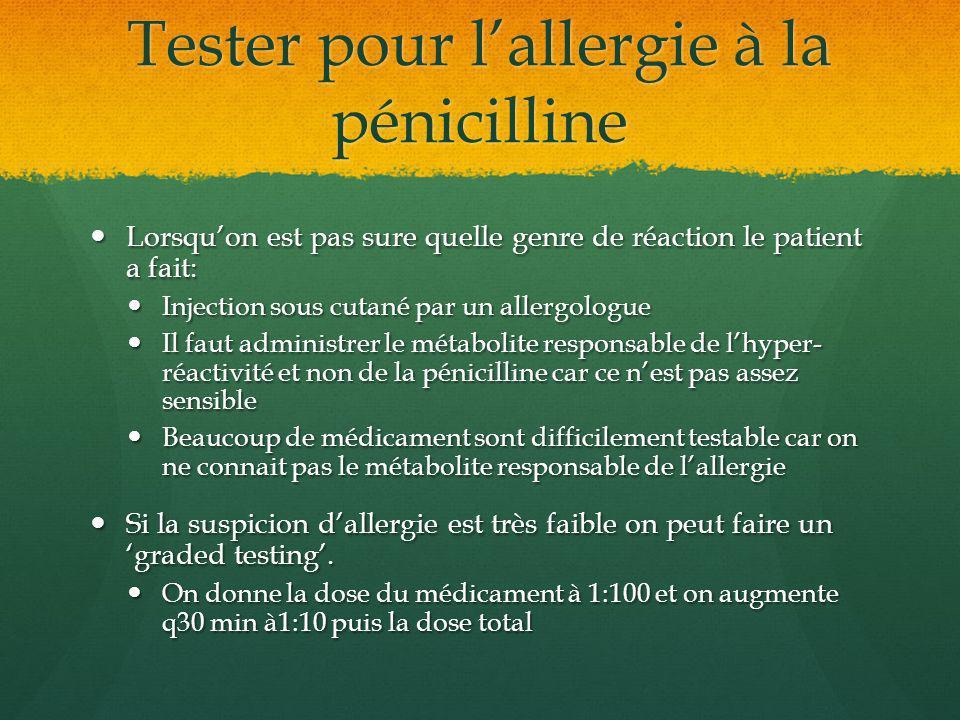 Tester pour l'allergie à la pénicilline