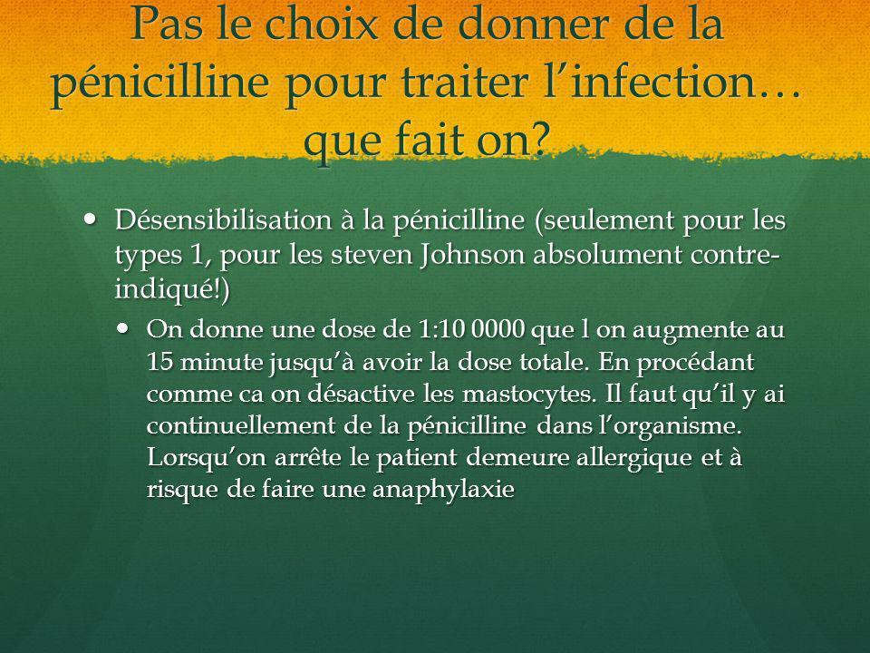 Pas le choix de donner de la pénicilline pour traiter l'infection… que fait on