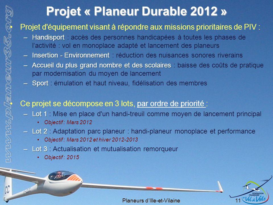 Projet « Planeur Durable 2012 »
