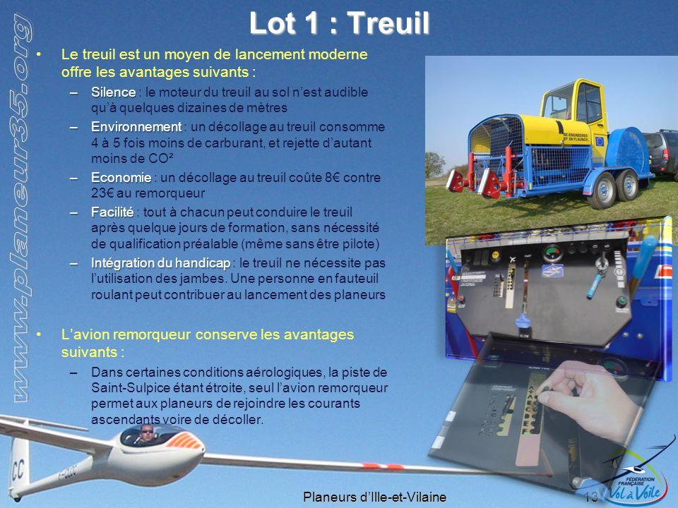Lot 1 : Treuil Le treuil est un moyen de lancement moderne offre les avantages suivants :