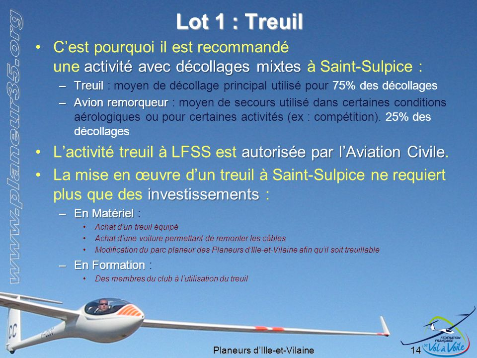 Lot 1 : Treuil C'est pourquoi il est recommandé une activité avec décollages mixtes à Saint-Sulpice :