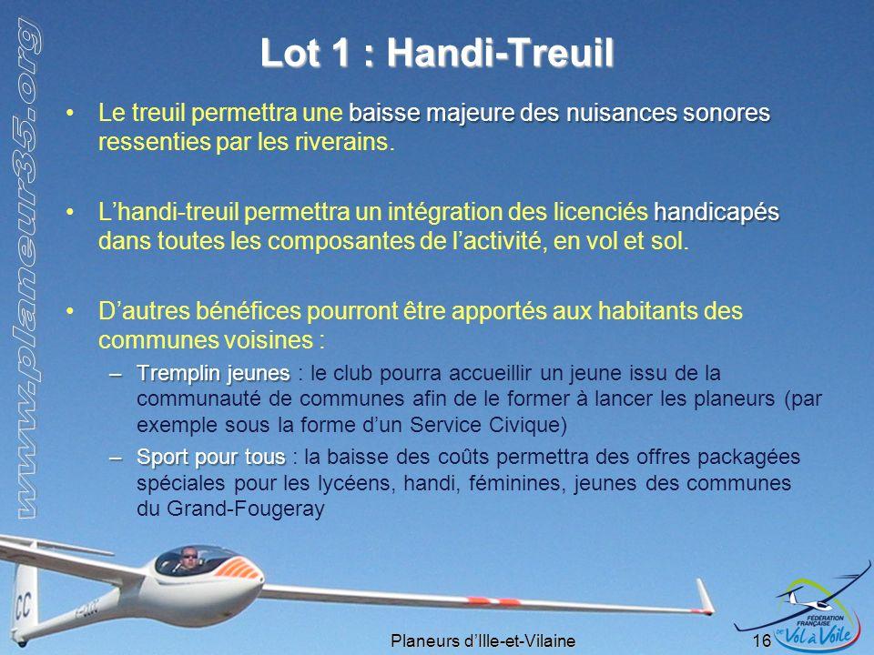 Lot 1 : Handi-Treuil Le treuil permettra une baisse majeure des nuisances sonores ressenties par les riverains.