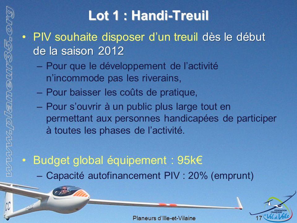 Lot 1 : Handi-Treuil PIV souhaite disposer d'un treuil dès le début de la saison 2012.