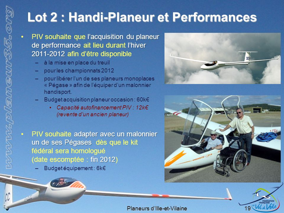 Lot 2 : Handi-Planeur et Performances