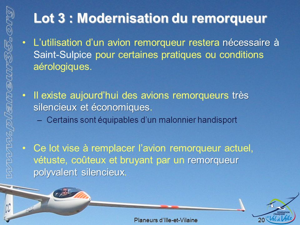Lot 3 : Modernisation du remorqueur