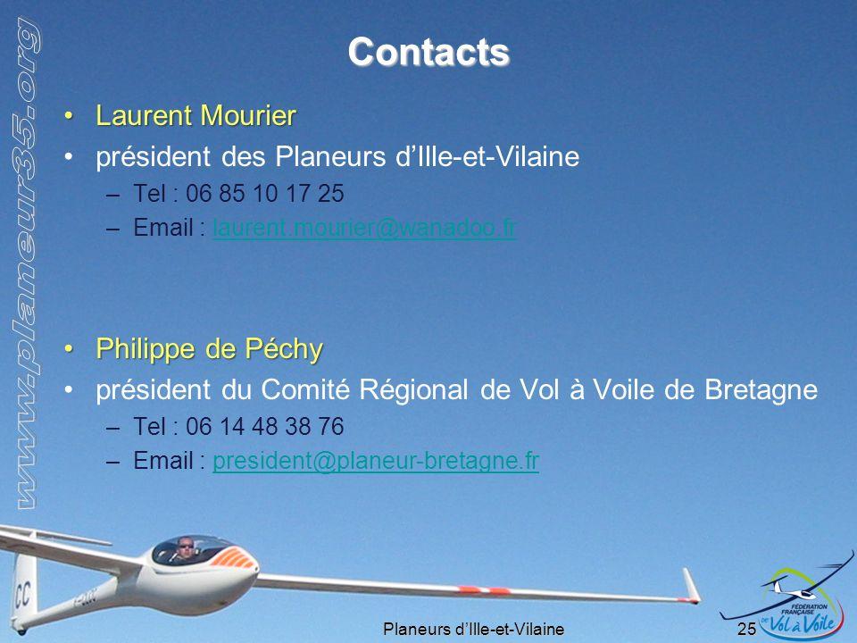 Contacts Laurent Mourier président des Planeurs d'Ille-et-Vilaine