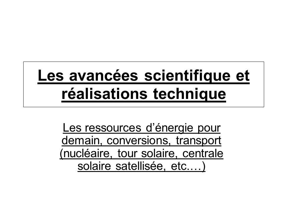 Les avancées scientifique et réalisations technique