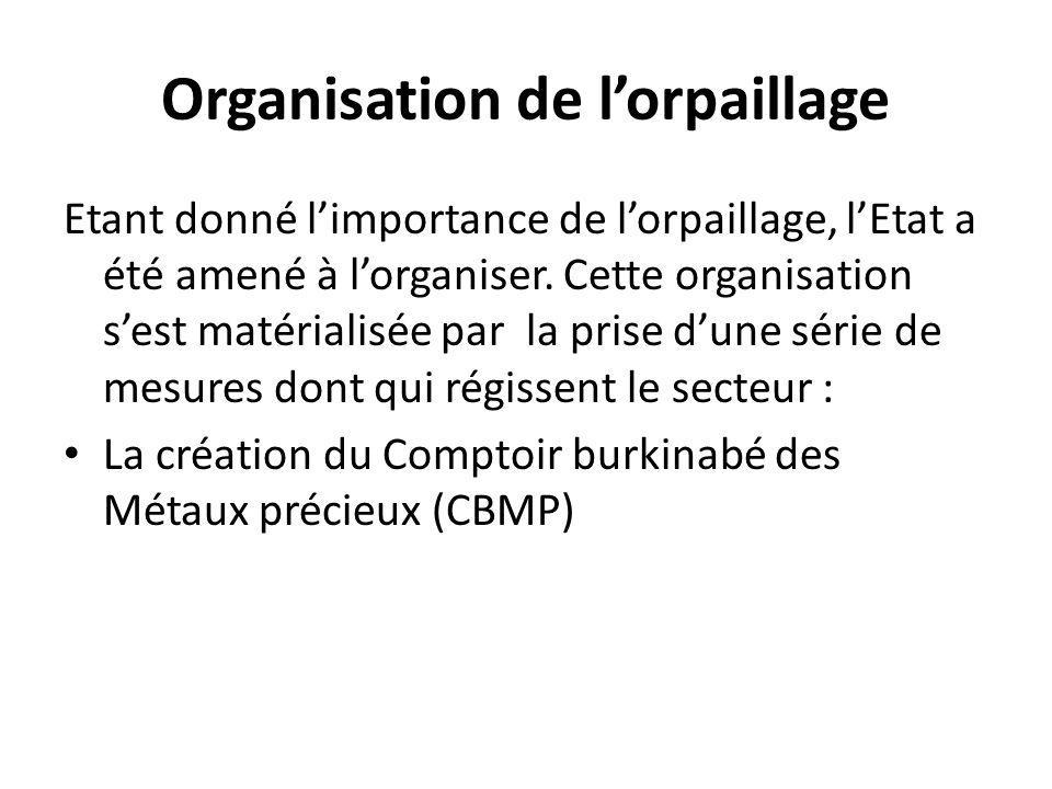 Organisation de l'orpaillage