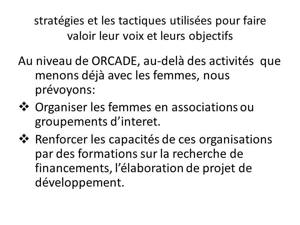 Organiser les femmes en associations ou groupements d'interet.