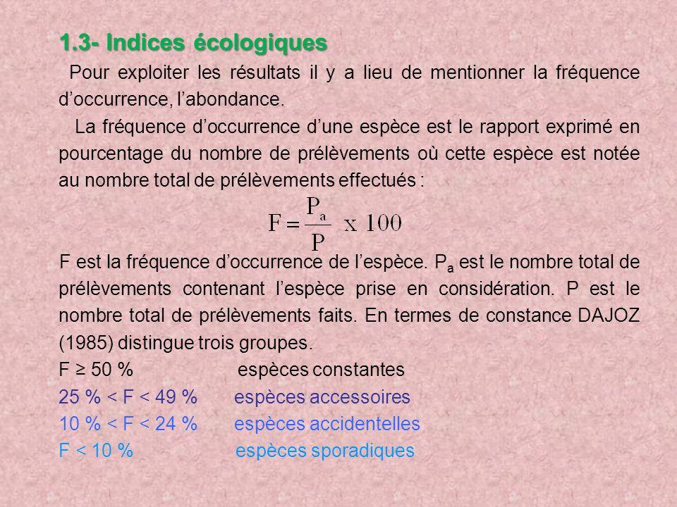 1.3- Indices écologiques Pour exploiter les résultats il y a lieu de mentionner la fréquence d'occurrence, l'abondance.