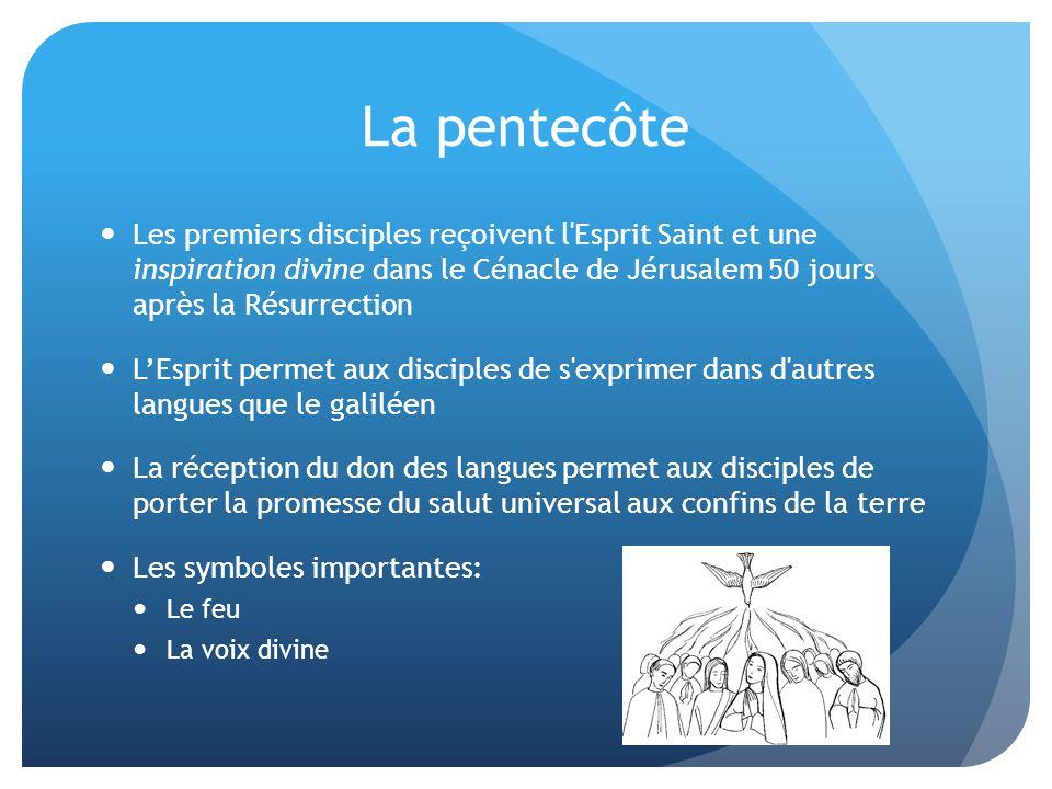 La pentecôte Les premiers disciples reçoivent l Esprit Saint et une inspiration divine dans le Cénacle de Jérusalem 50 jours après la Résurrection.
