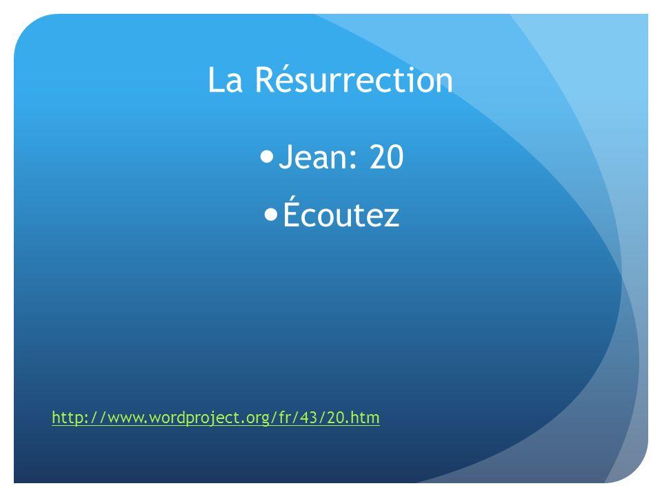 La Résurrection Jean: 20 Écoutez