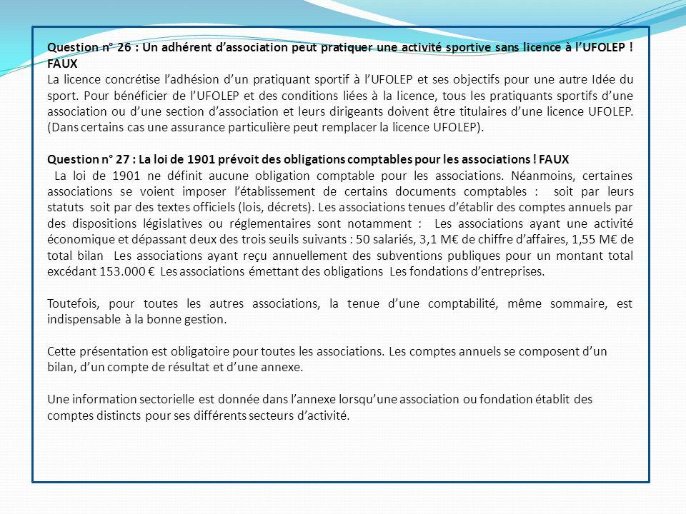 Question n° 26 : Un adhérent d'association peut pratiquer une activité sportive sans licence à l'UFOLEP ! FAUX