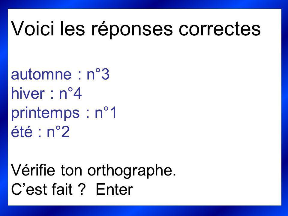 Voici les réponses correctes automne : n°3 hiver : n°4 printemps : n°1 été : n°2 Vérifie ton orthographe.