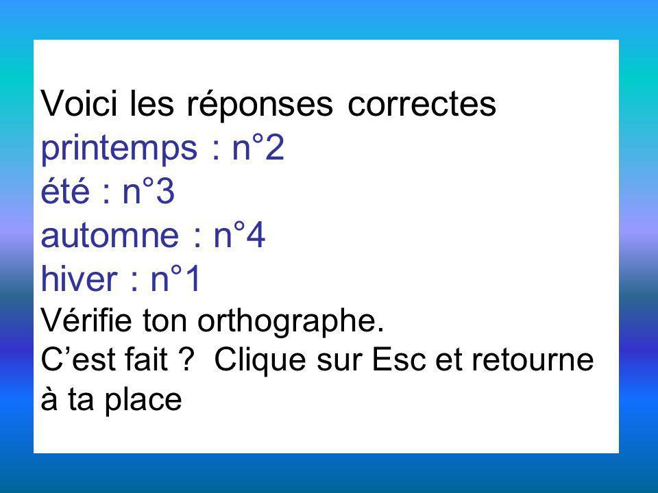 Voici les réponses correctes printemps : n°2 été : n°3 automne : n°4 hiver : n°1 Vérifie ton orthographe.
