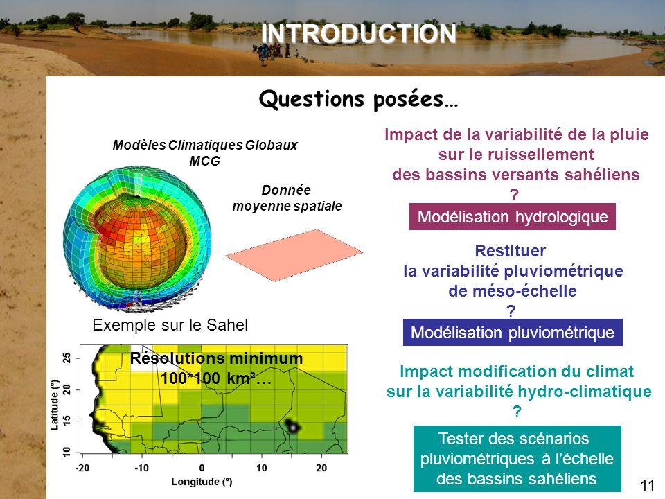 INTRODUCTION Questions posées… Impact de la variabilité de la pluie