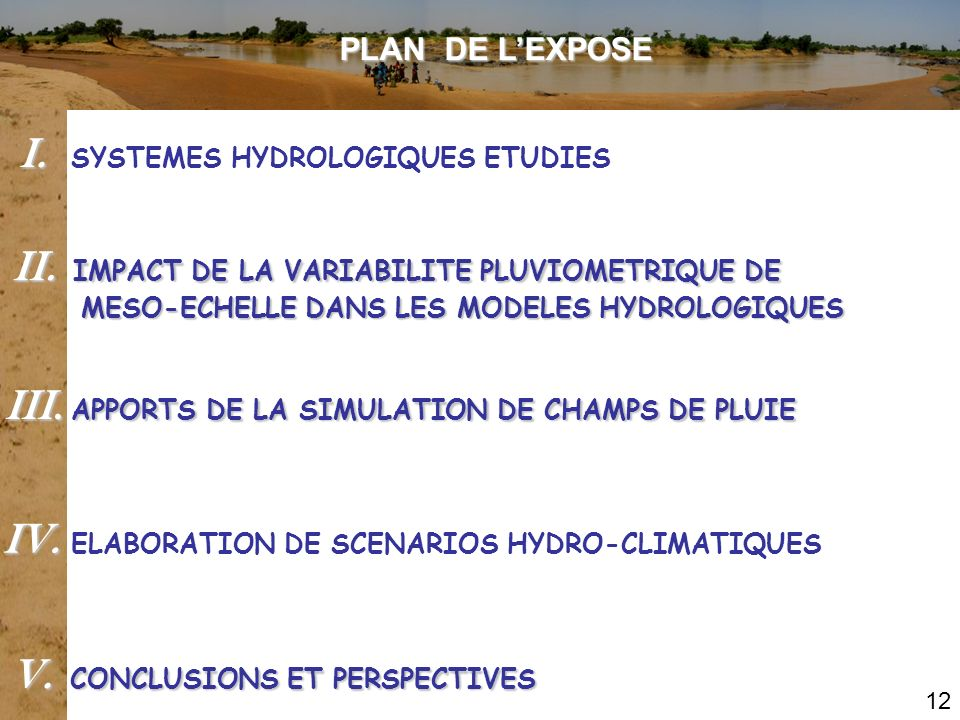 I. SYSTEMES HYDROLOGIQUES ETUDIES