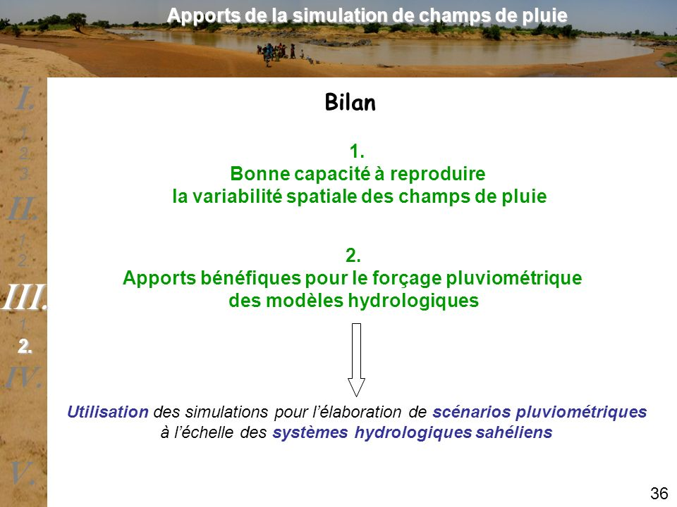 III. I. II. V. IV. Bilan Apports de la simulation de champs de pluie