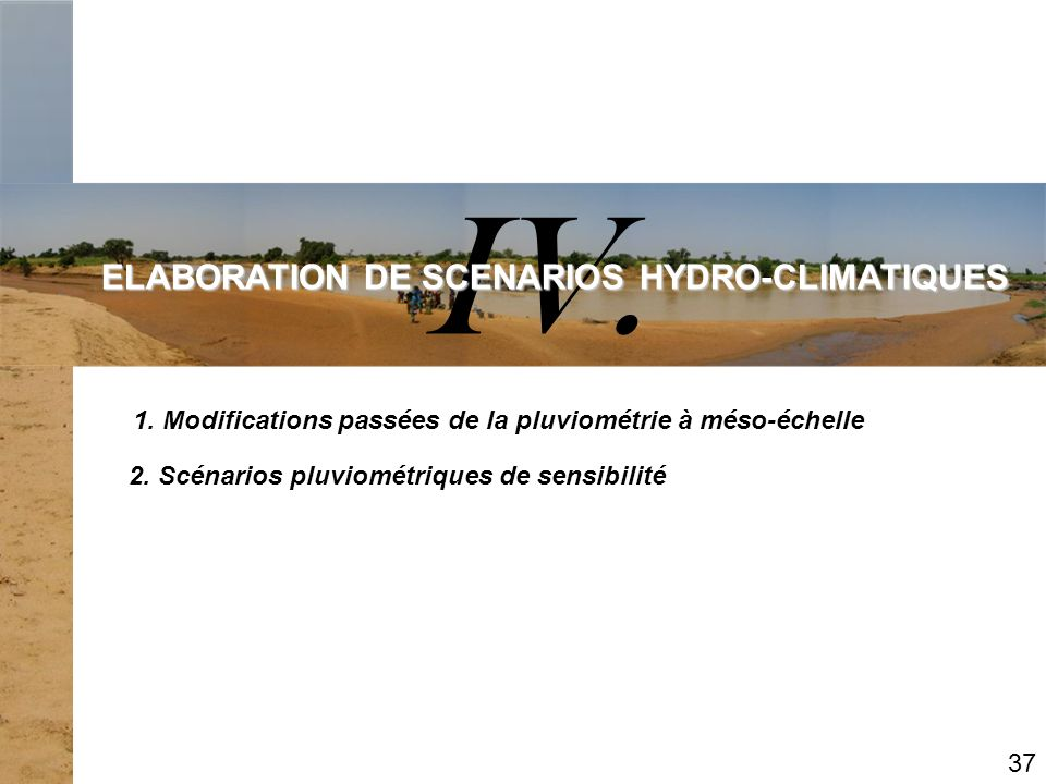 ELABORATION DE SCENARIOS HYDRO-CLIMATIQUES