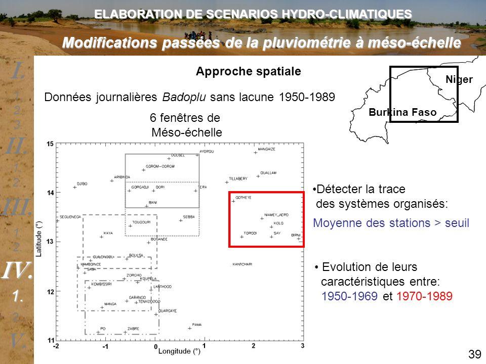 Modifications passées de la pluviométrie à méso-échelle