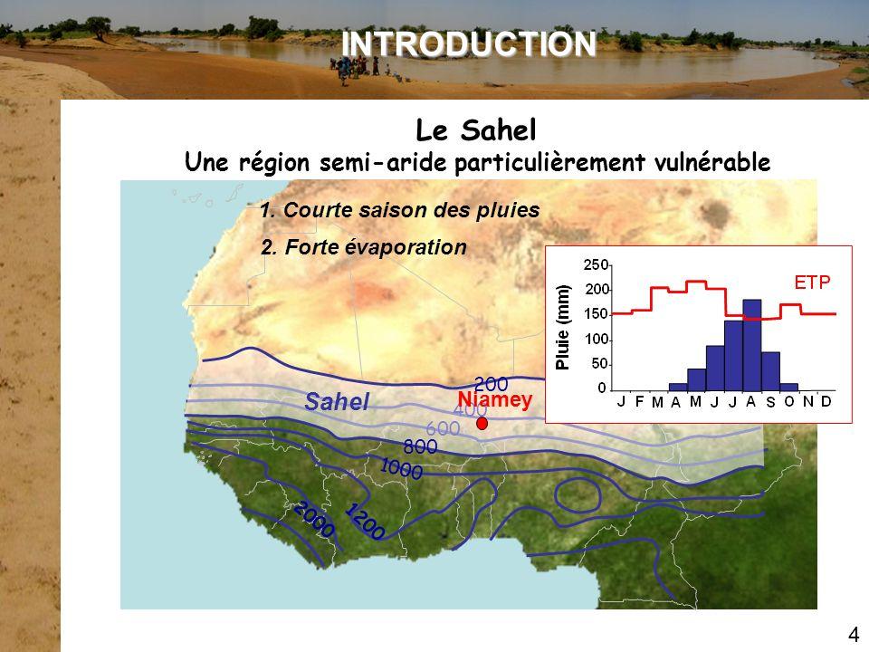 INTRODUCTION Le Sahel. Une région semi-aride particulièrement vulnérable. 1. Courte saison des pluies.