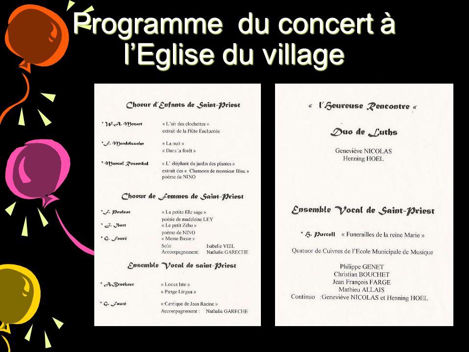 Programme du concert à l'Eglise du village