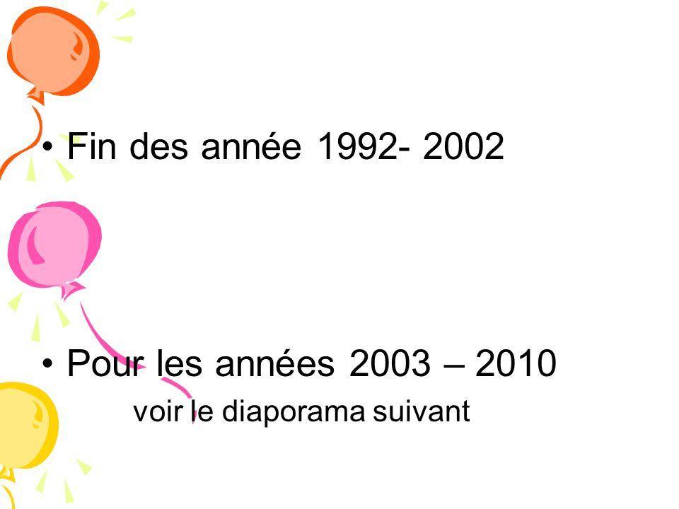 Fin des année 1992- 2002 Pour les années 2003 – 2010