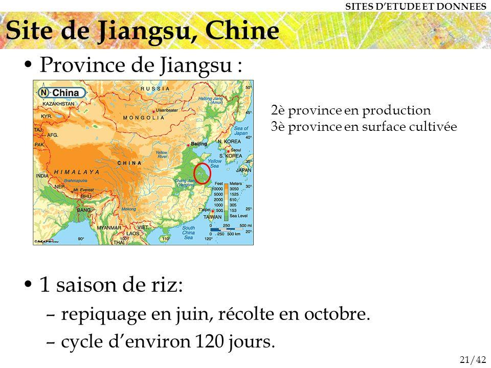 Site de Jiangsu, Chine Province de Jiangsu : 1 saison de riz: