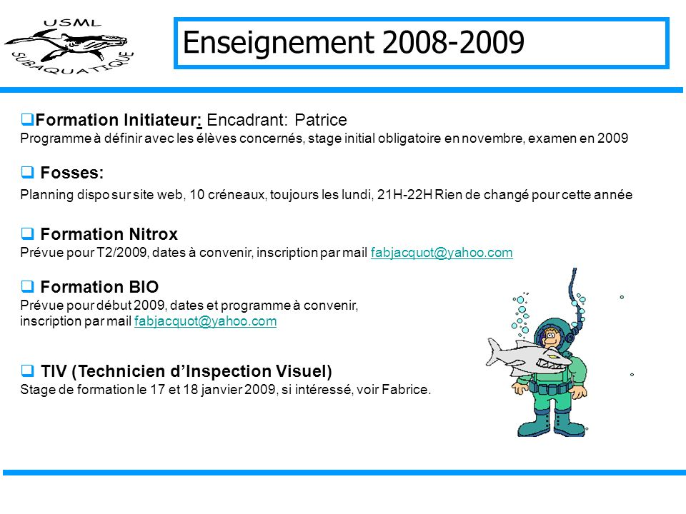Enseignement 2008-2009 Formation Initiateur: Encadrant: Patrice