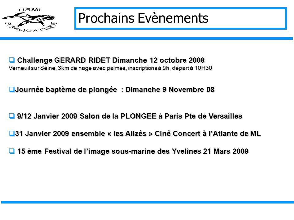 Prochains Evènements Challenge GERARD RIDET Dimanche 12 octobre 2008