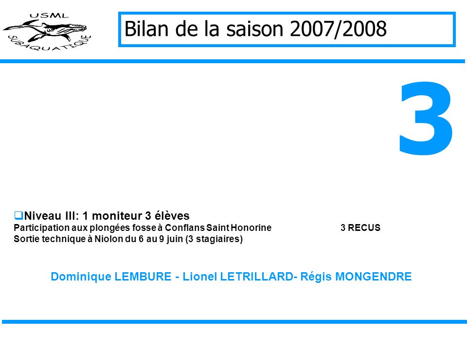 3 Bilan de la saison 2007/2008 Niveau III: 1 moniteur 3 élèves