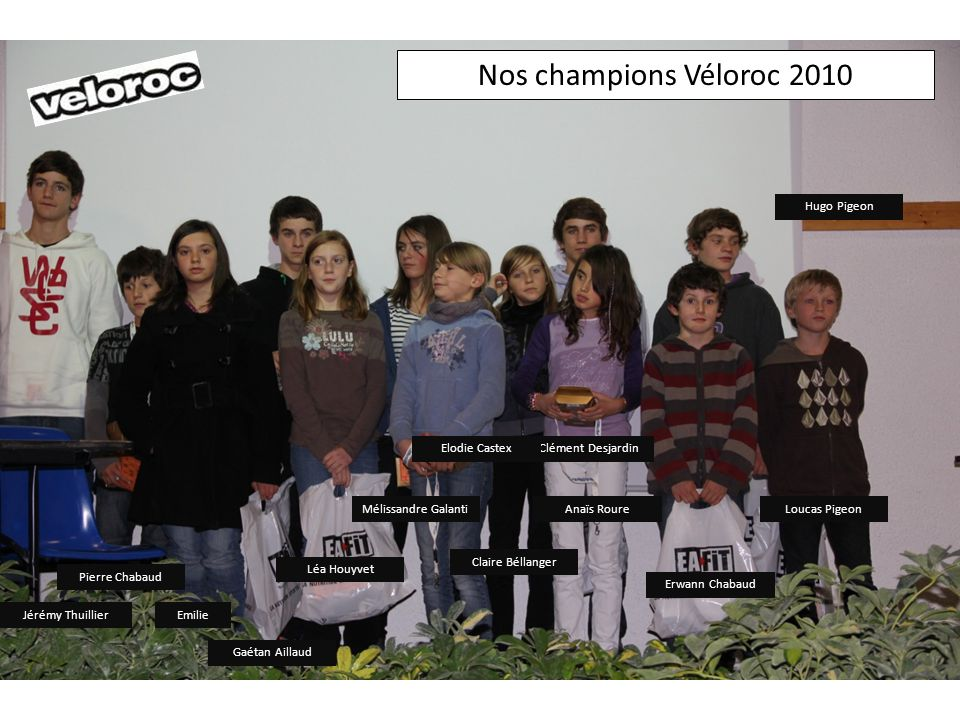 Nos champions Véloroc 2010 Hugo Pigeon Elodie Castex Clément Desjardin
