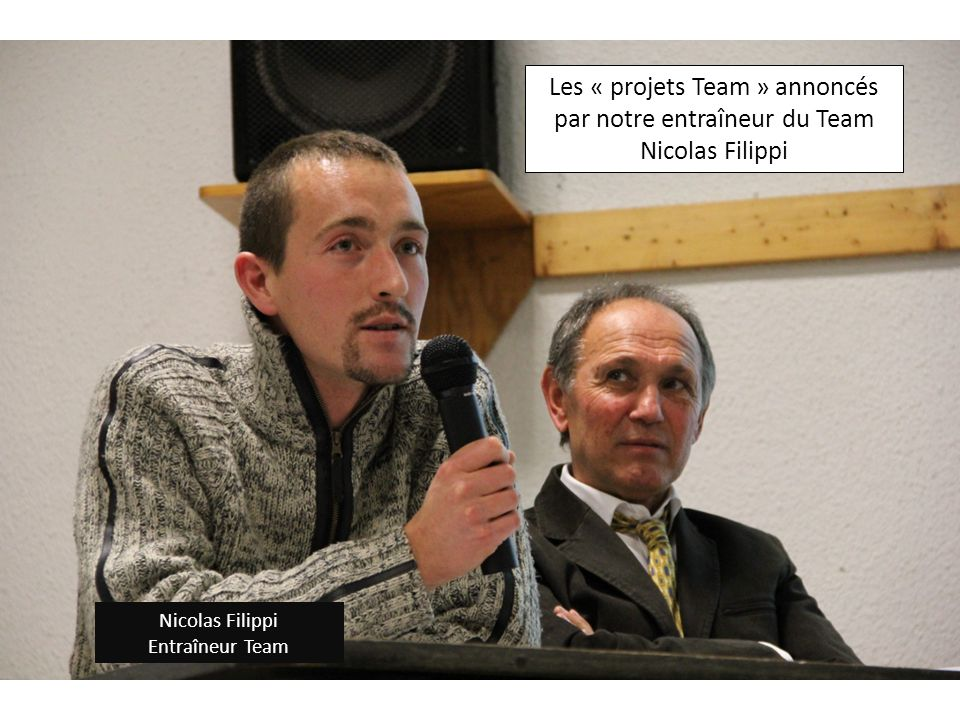 Les « projets Team » annoncés par notre entraîneur du Team Nicolas Filippi