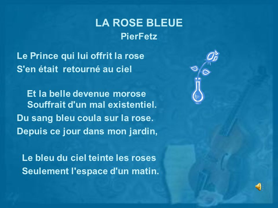 LA ROSE BLEUE PierFetz Le Prince qui lui offrit la rose