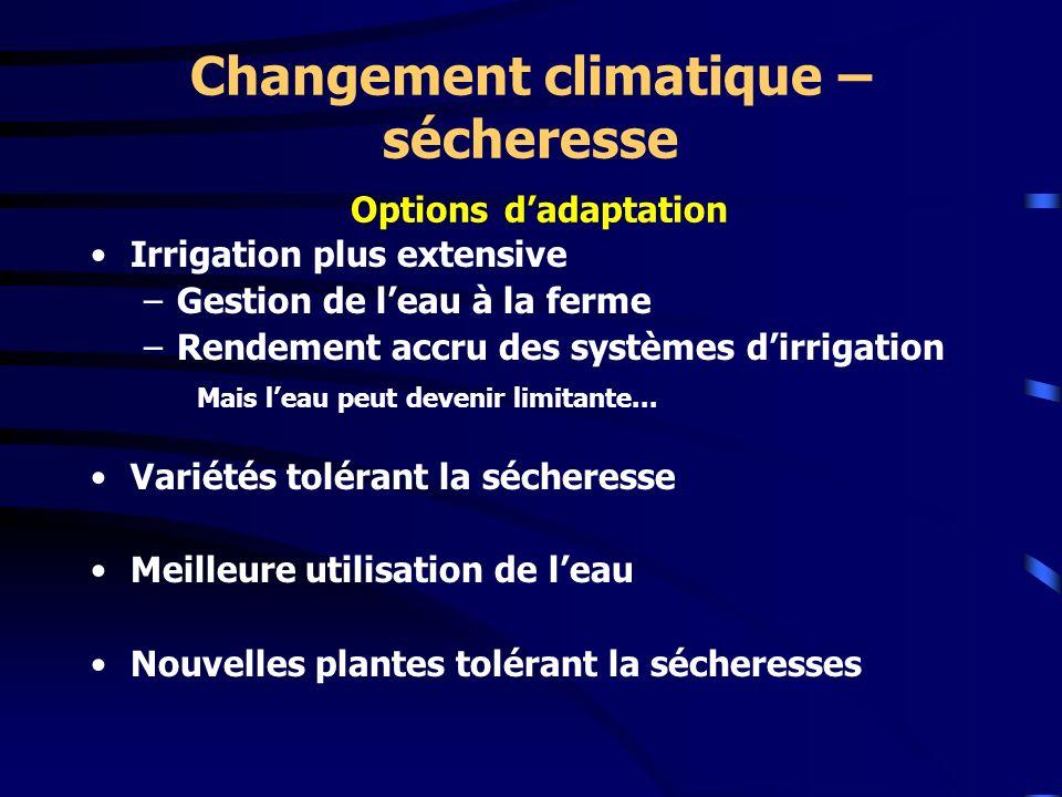 Changement climatique – sécheresse Options d'adaptation