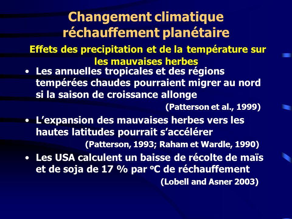 Changement climatique réchauffement planétaire Effets des precipitation et de la température sur les mauvaises herbes