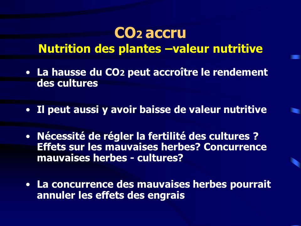 CO2 accru Nutrition des plantes –valeur nutritive