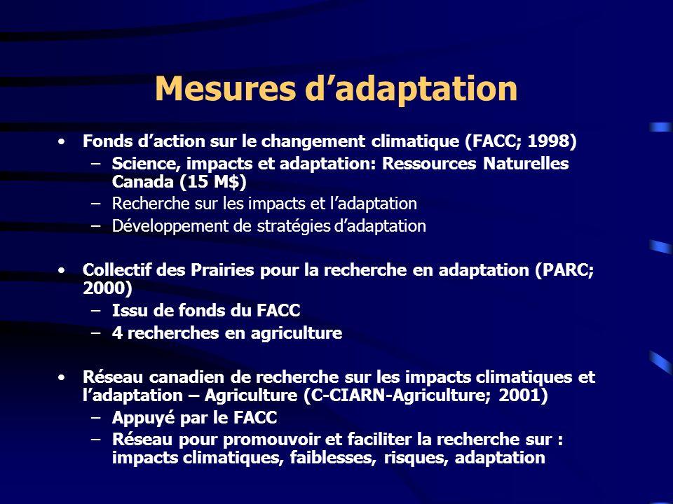 Mesures d'adaptation Fonds d'action sur le changement climatique (FACC; 1998) Science, impacts et adaptation: Ressources Naturelles Canada (15 M$)
