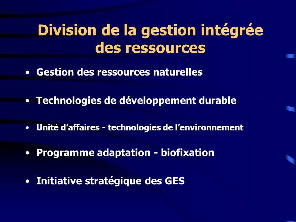 Division de la gestion intégrée des ressources