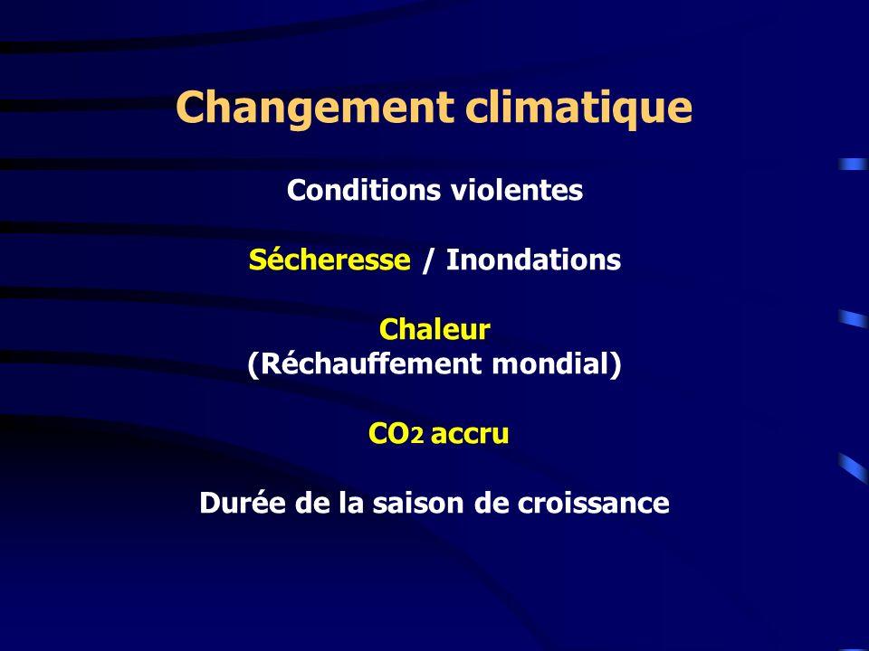 Changement climatique Conditions violentes Sécheresse / Inondations Chaleur (Réchauffement mondial) CO2 accru Durée de la saison de croissance