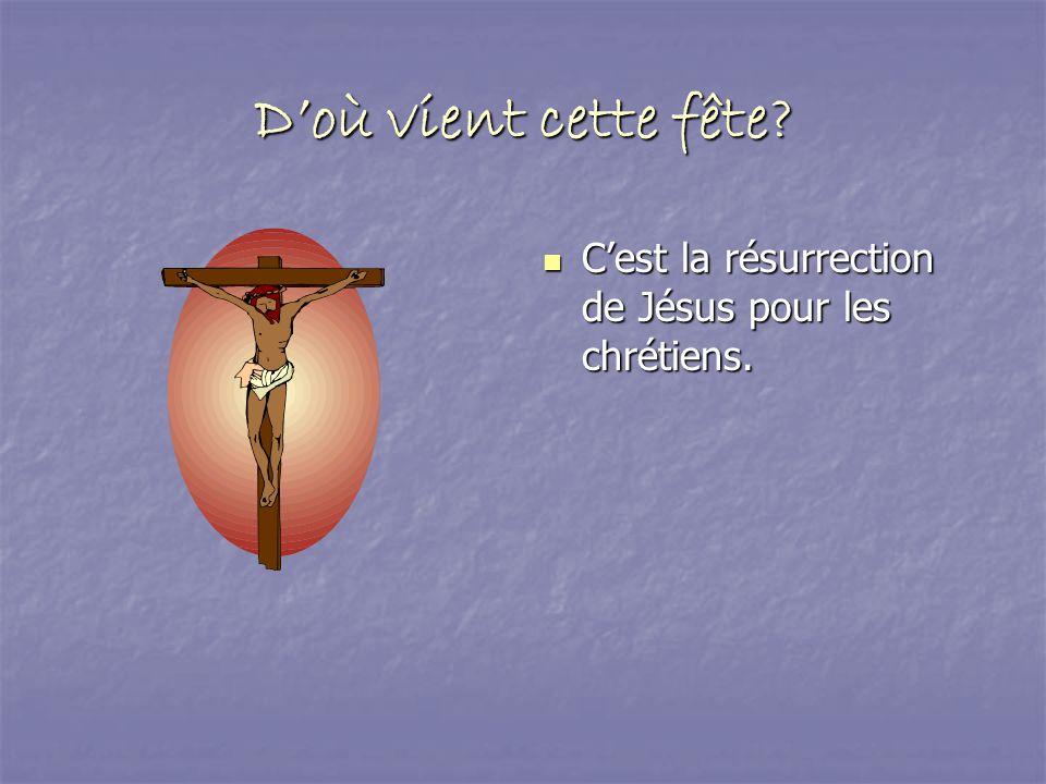 D'où vient cette fête C'est la résurrection de Jésus pour les chrétiens.