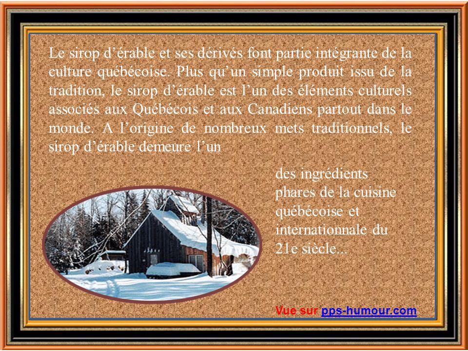 Le sirop d'érable et ses dérivés font partie intégrante de la culture québécoise. Plus qu'un simple produit issu de la tradition, le sirop d'érable est l'un des éléments culturels associés aux Québécois et aux Canadiens partout dans le monde. A l'origine de nombreux mets traditionnels, le sirop d'érable demeure l'un