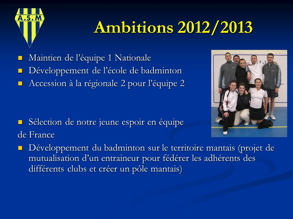 Ambitions 2012/2013 Maintien de l'équipe 1 Nationale