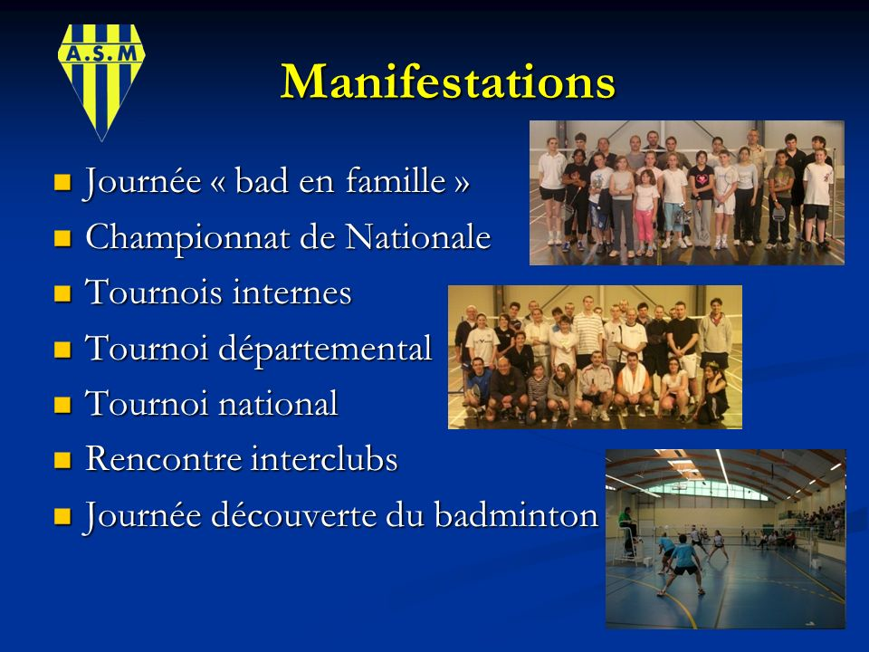 Manifestations Journée « bad en famille » Championnat de Nationale