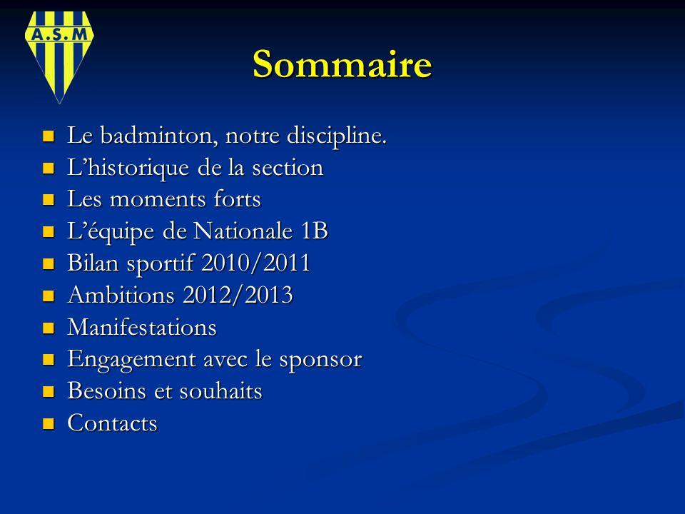 Sommaire Le badminton, notre discipline. L'historique de la section