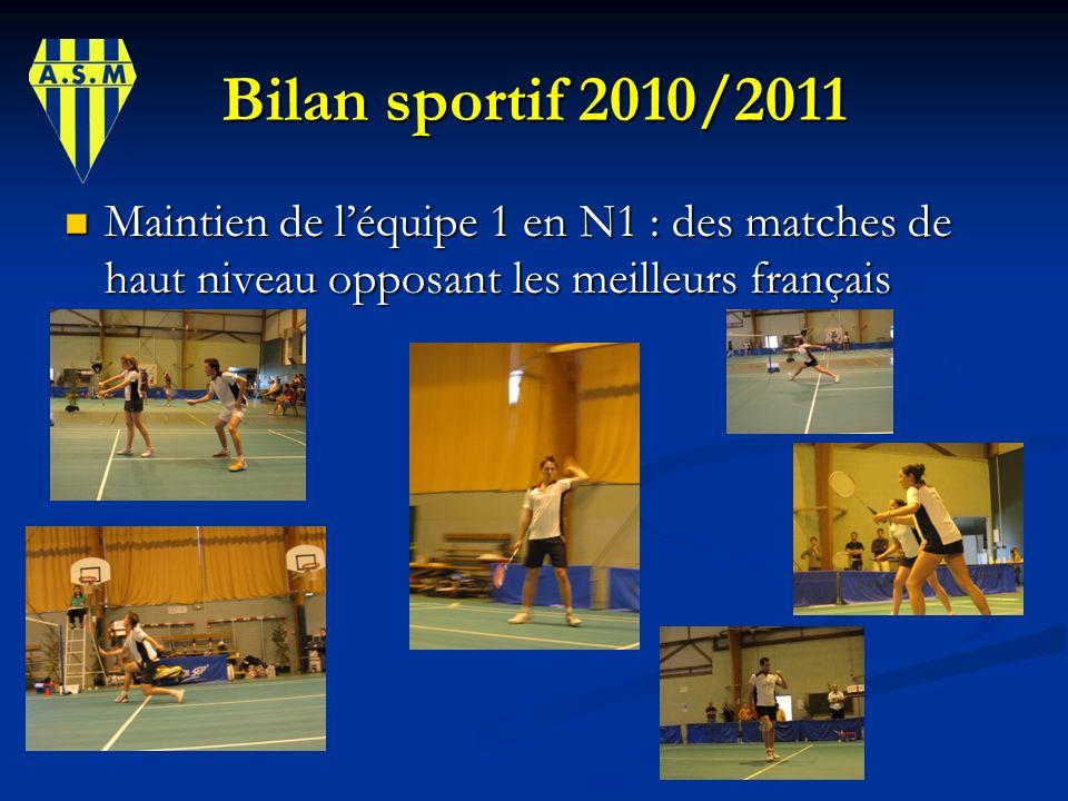 Bilan sportif 2010/2011 Maintien de l'équipe 1 en N1 : des matches de haut niveau opposant les meilleurs français.